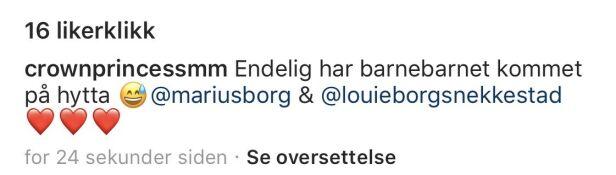 FØR: Kronprinsesse Mette-Marit klarte å tagge feil Marius da innlegget ble publisert i første omgang. Foto: Skjermdump