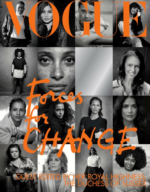 FORSIDEN: Disse kvinnene har blitt valgt ut av hertuginne Meghan til å pryde forsiden av septemberutgaven av britiske Vogue. Foto: Reuters / NTB Scanpix