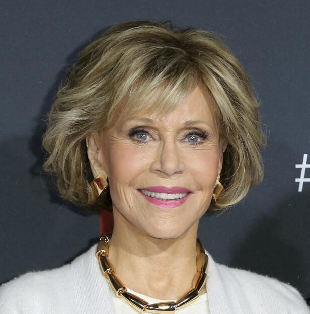 FRITTALENDE: Jane Fonda er en av de mange ansiktene som pryder hertuginne Meghan forside av Vogue. Foto: NTB Scanpix