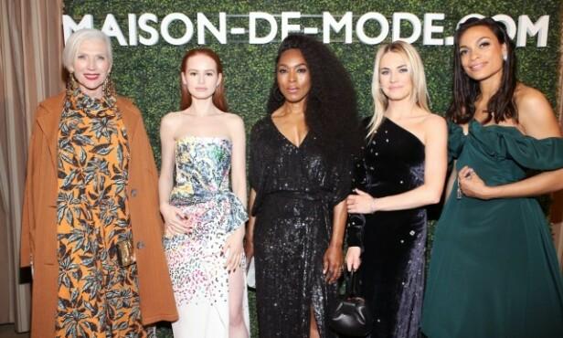 RØD LØPER: Her er Amanda Hearst (nummer to fra høyre) avbildet sammen med Maye Husk, Madelaine Petsch, Angela Bassett og Rosario Dawson i 2018. Foto: NTB Scanpix