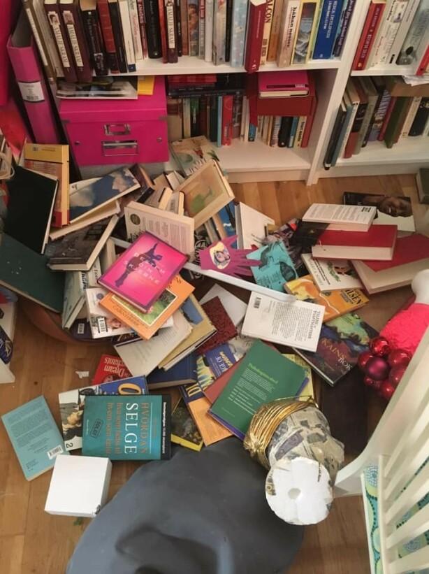 HUNDENS PLASS: Under disse bøkene kan man se senga til Hildes valp. Hun er glad de ikke var hjemme da gjenstandene raste ut. Foto: Privat