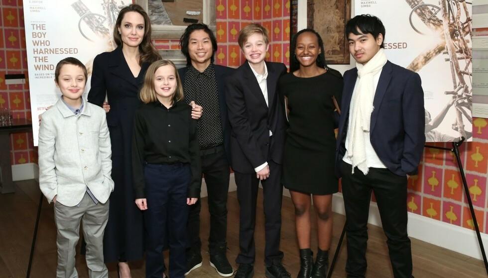 SEKS BARN: Angelina Jolie har sammen med eksmannen Brad Pitt hele seks barn. Fra venstre ser du tvillingene Knox og Vivienne, Pax, Shiloh, Zahara, og Maddox. Foto: NTB Scanpix