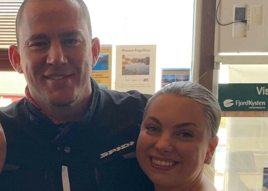 STJERNEMØTE: Fredag dukket Channing Tatum opp i Norge - igjen. Det ble et spesielt besøk for 19 år gamle Sofie Hopen Landøy. Foto: Privat