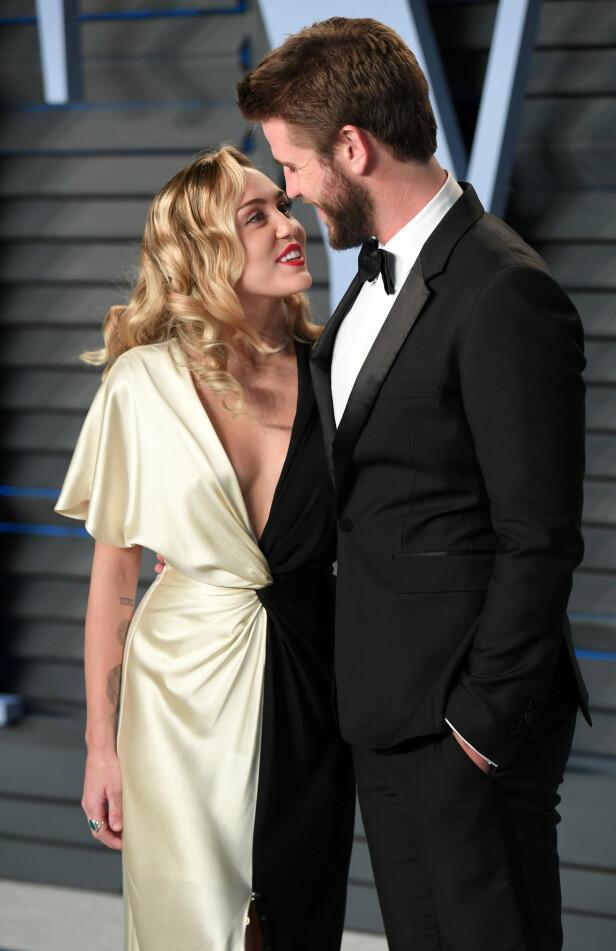 BRUDD: Etter åtte måneders ekteskap er forholdet mellom Liam Hemsworth og Miley Cyrus nå over. Foto: NTB Scanpix