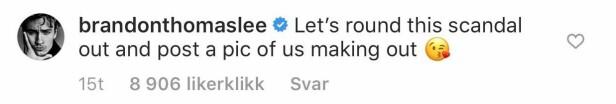 SPØKEFUGL: Også Brody Jenners realitykollega, Brandom Thomas Lee hadde sitt å si om de nye bildene av Miley Cyrus og Kaitlynn Carter som kliner til. Foto: Skjermdump fra Instagram.