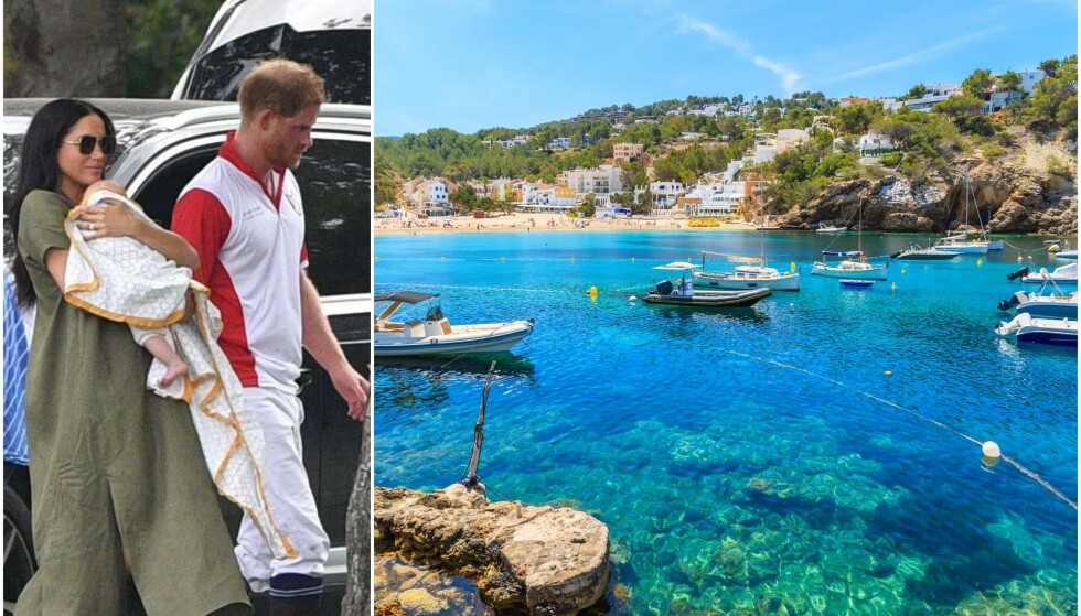 PÅ IBIZA: Meghan og Harry skal ha tatt med sønnen Archie, som ble født i mai, på privat ferie til Ibiza. Her er hertugparet og sønnen avbildet tidligere i sommer. Foto: NTB scanpix
