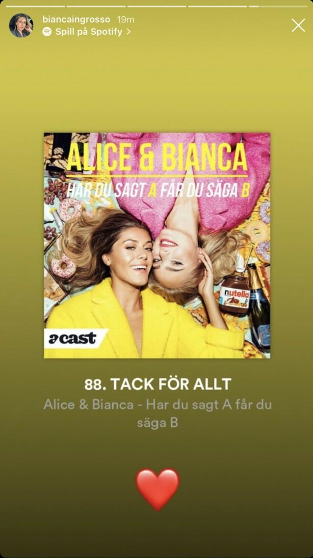 TAKK FOR ALT: Alice og Bianca avslutter podkasten på topp. Foto: Bianca Ingrosso / Instagram