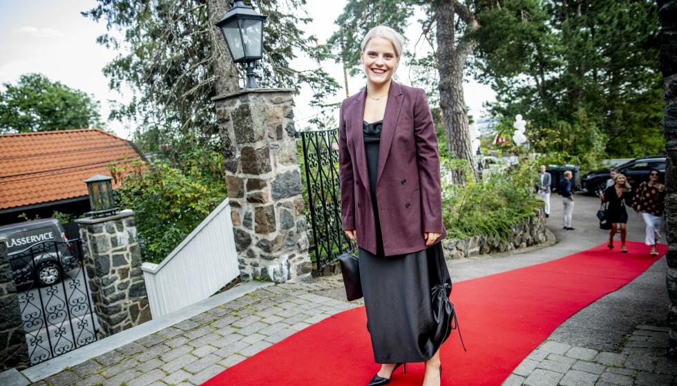 <strong>BRA FEST:</strong> Ulrikke Falch stilte festpyntet og klar på den røde løperen. Foto: Christian Roth Christensen / Dagbladet
