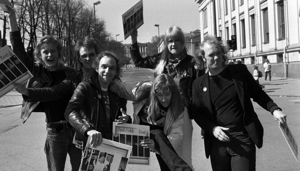 VESLEFRIKK: Anne Grete Preus startet sin musikkarriere i rockebandet Veslefrikk, her avbildet i 1982. Foto: NTB Scanpix