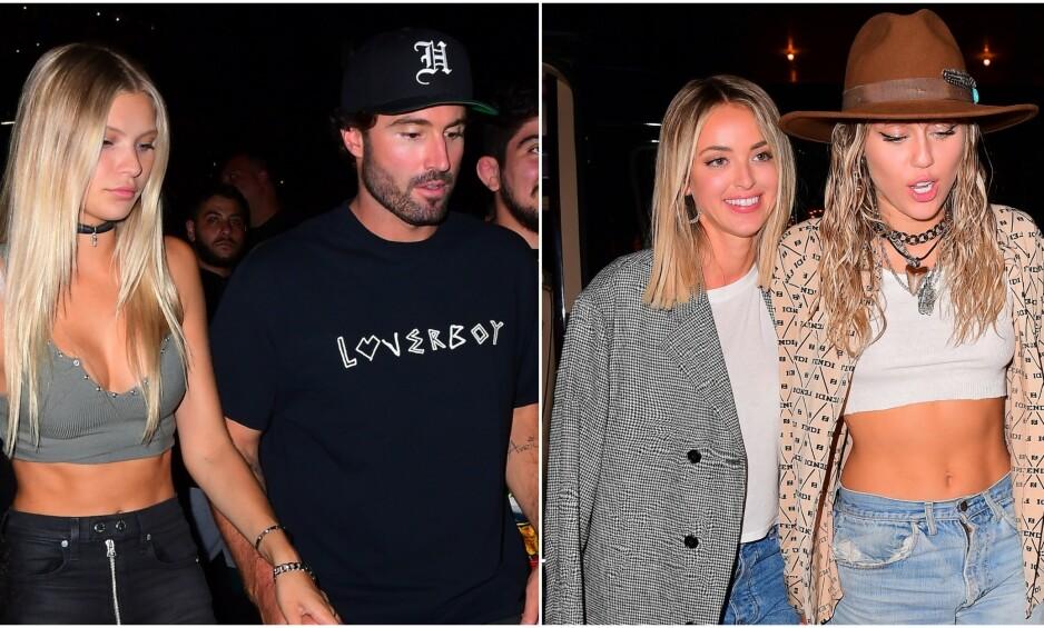 HÅND I HÅND: Både Brody Jenner og hans nylig fraseparerte ekskone, Kaitlynn Carter, ankom VMAs etterfest hånd i hånd med sine nye flammer. Foto: NTB Scanpix