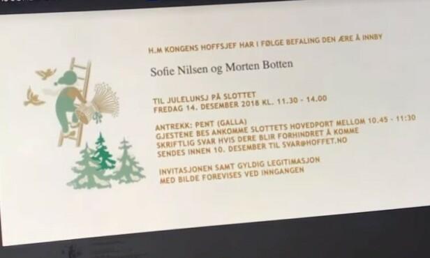 FALSK INVITASJON: For å gjøre situasjonen så troverdig som mulig, fikk Morten Botten laget en falsk invitasjon - der kjæresten gikk fem på. Foto: Privat