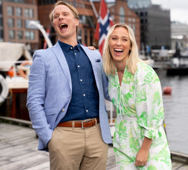 PROGRAMLEDERE: Katarina Flatland og Petter Pilgaard var blant programlederne i TV 2s sommersatsing «God sommer Norge». Foto: Espen Solli / TV 2