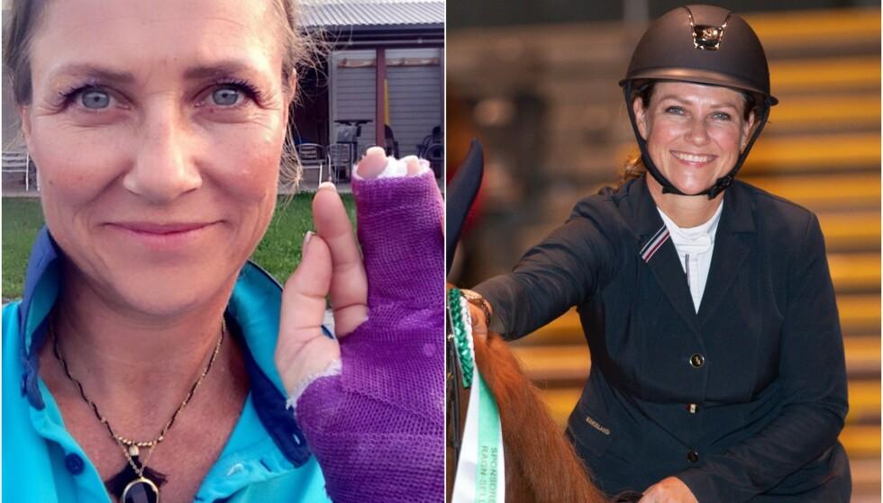 SKADET: Prinsesse Märtha Louise falt mandag av hesten, noe som resulterte i at hun brakk fingeren. Dette bildet ble tatt i fjor, i forbindelse med Oslo Horse Show. Foto: Instagram, Andreas Fadum / Se og Hør