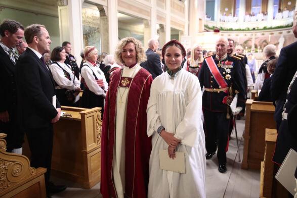 FERDIG: Prinsessen smilte til alle gjestene på vei ut av Slottskapellet. Foto: Lise Åserud / NTB Scanpix