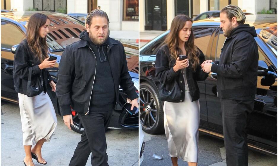 GIFTER SEG: Jonah Hill har fridd til Gianna Santos og fått ja. Nå blir de snart mann og kone. Foto: NTB Scanpix