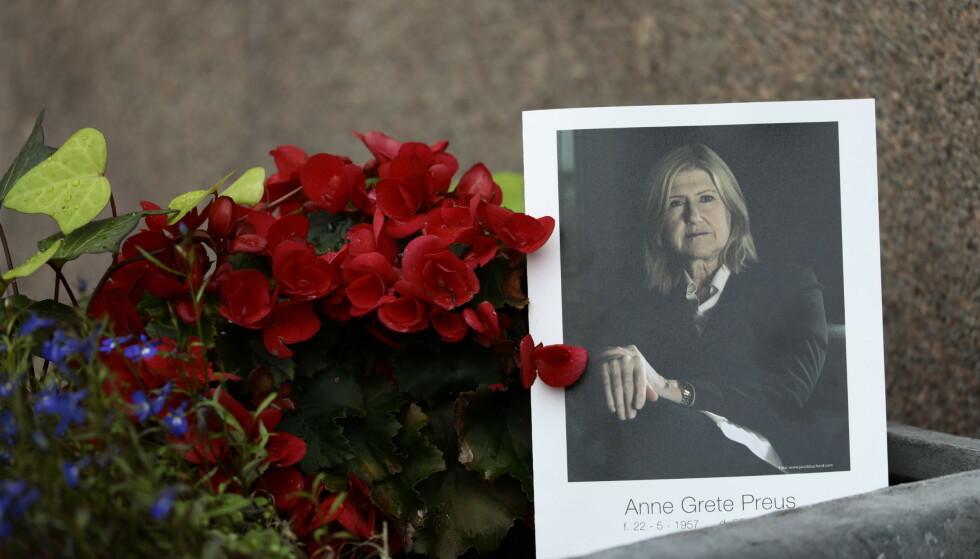 <strong>BISETTELSE:</strong> Anne Grete Preus ble stedt til hvile fra Uranienborg kirke i Oslo torsdag 5. september. Foto: Nina Hansen/ Dagbladet