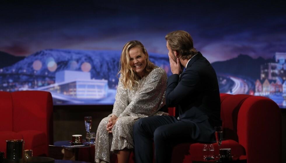 SJOKKERT: Helene Olafsen overrasket både publikum og kollega Stian Blipp da hun kunngjorde sin graviditet torsdag kveld. Foto: Helene Kjærgaard Sviland / TV 2