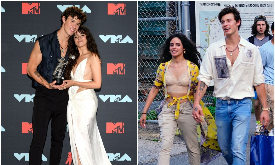 FORELSKET: En god stund har sangstjernene Shawn Mendes og Camila Cabello blitt avbildet i typiske kjæreste-situasjoner, men først nå innrømmer Cabello at de faktisk er et par. Foto: NTB Scanpix