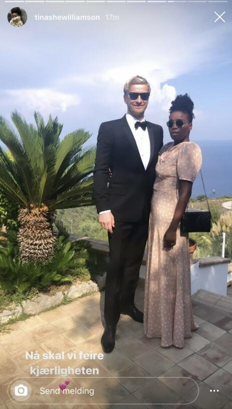 <strong>KLARE:</strong> Odd-Magnus Williamson og Tinashe Williamson er selvskrevne gjester i bryllupet. Foto: Instagram / Skjermdump