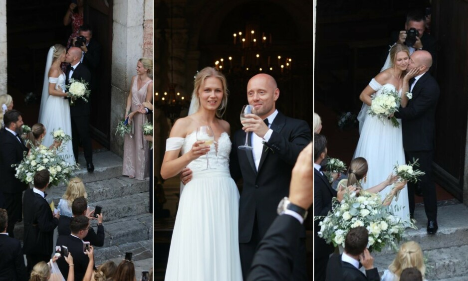 <strong>MANN OG KONE:</strong> Aksel Hennie og Karoline Hegbom giftet seg fredag 6. september. Foto: Se og Hør