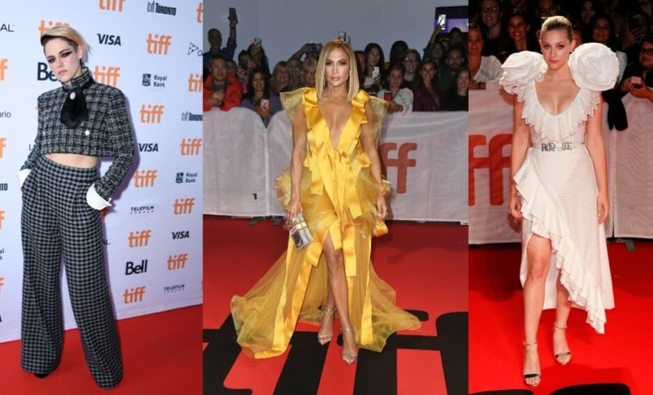 FILMFESTIVAL: Store deler av filmeliten er samlet i den kanadiske storbyen Toronto i anledning årets filmfestival. Her ser vi Kristen Stewart, Jennifer Lopez og Lili Reinhart. Foto: NTB Scanpix