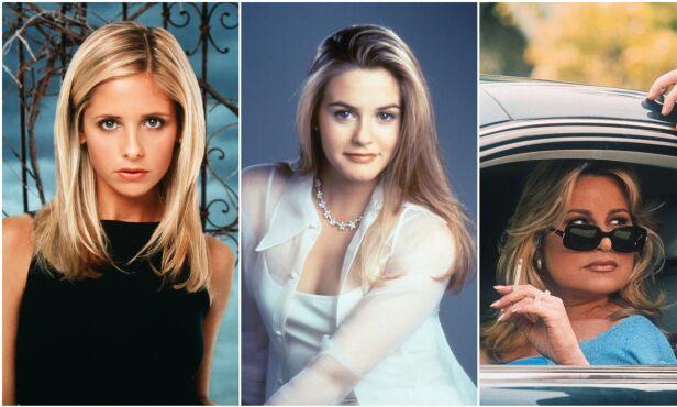 90-TALLSSTJERNER: Sarah Michelle Gellar, Alicia Silverstone og Jennifer Coolidge i sine ikoniske «Buffy»-, «Clueless»- og «American Pie»-roller. Foto: NTB scanpix