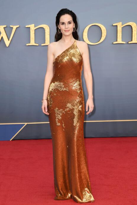 PÅ RØD LØPER: Michelle Dockery dukket opp i en lekker asymmetrisk kjole. Foto: NTB Scanpix