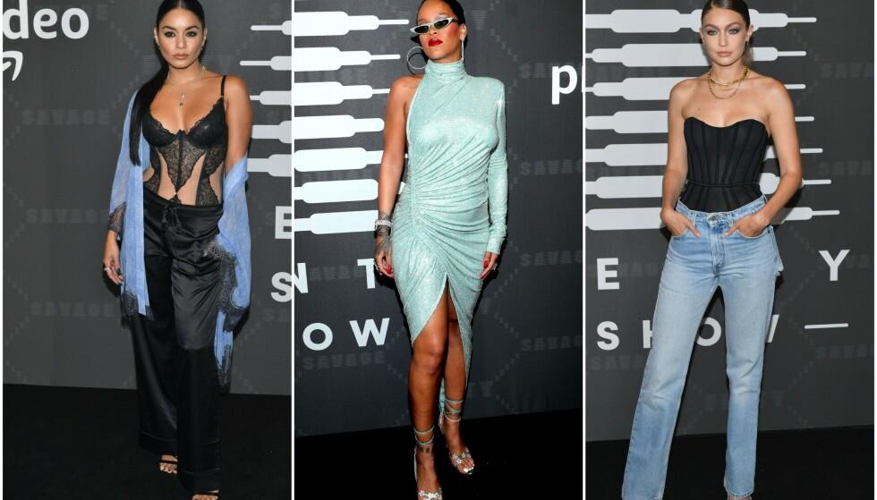 RIHANNA: Artisten hadde et helt eget show på New York Fashion Week for å vise fra sin nye undertøyskolleksjon fra Savage x Fenty. Her flankert av Vanessa Hudgens og Gigi Hadid. Foto: NTB Scanpix