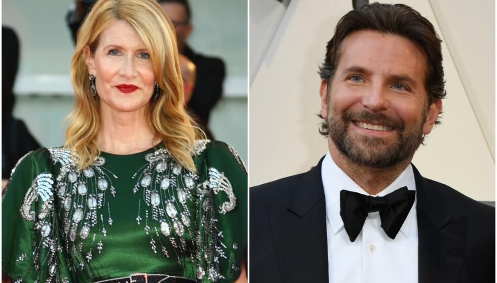 <strong>NÆRT FORHOLD:</strong> Nylig begynte kjærlighetsryktene mellom filmstjernene Laura Dern og Bradley Cooper å svirre. Foto: NTB Scanpix