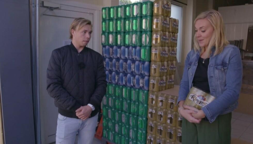 1770 HALVLITERE: Robin Pettersen får bakoversveis når han oppdager nøyaktig hvor mange øl han har kjøpt de siste to årene. Foto: TV3