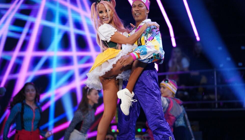 FAVORITTER: Dommerne omtalte dansen som kveldens beste. Her er Christian med Linni Meister. Foto: NTB Scanpix