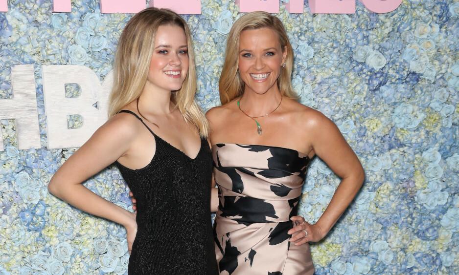 NÆRT FORHOLD: Reese Witherspoons datter Ava er 16 år eldre enn lillebroren Tennessee. Her er mor og datter sammen på et event i New York i mai. Foto: NTB Scanpix