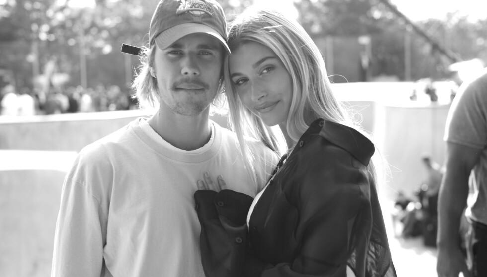GIFTET SEG FOR ANDRE GANG: Stjerneparet Justin og Hailey Bieber har gitt hverandre sitt ja for andre gang. Foto: NTB Scanpix