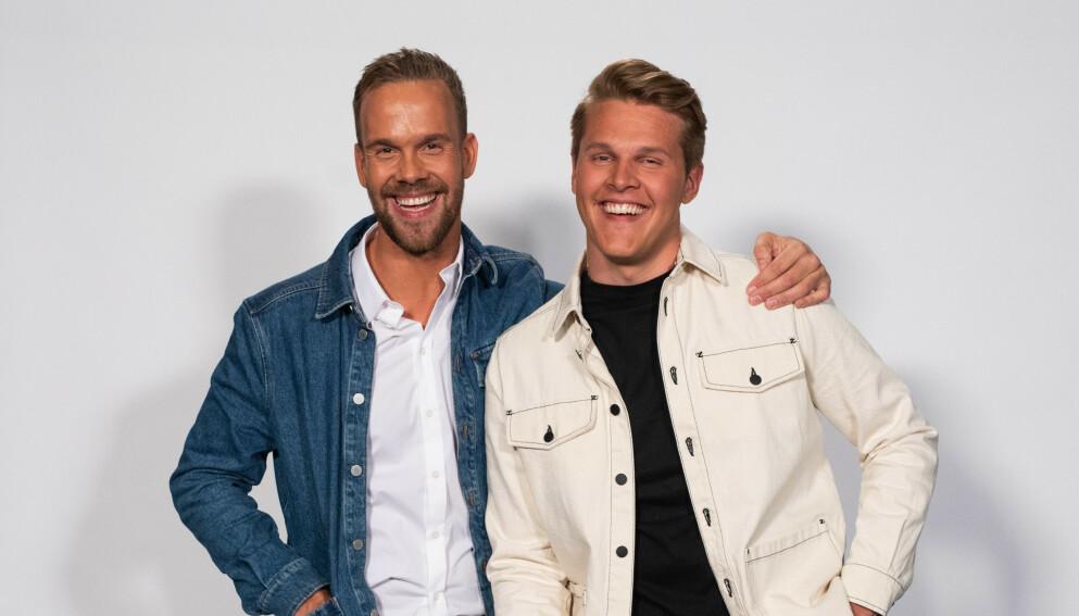 TØFFE DAGER: VGTV-profilene Morten Hegseth og Vegard Harm er begge med i «Kompani Lauritzen». Det har ikke bare vært lett for de to. Foto: TV 2