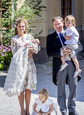 <strong>TREBARNSFORELDRE:</strong> Prinsesse Madeleine og Chris O'Neill har barna Leonore, Nicolas og Adrienne sammen. Foto: NTB Scanpix