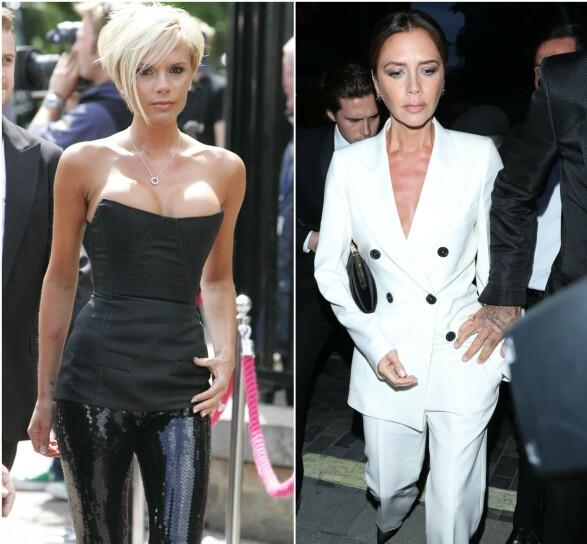 FØR OG NÅ: Victoria Beckham avbildet i henholdsvis 2007 og 2019. Foto: NTB scanpix