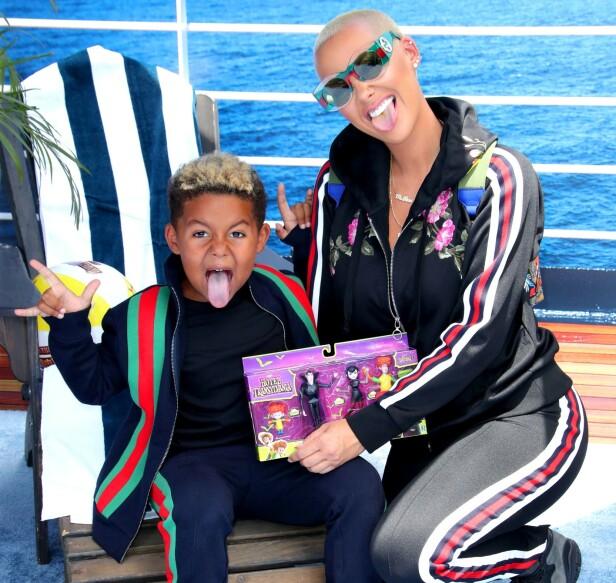 SØNNEN: Amber Rose har sønnen Sebastian fra sitt tidligere ekteskap med rapperen Wiz Khalifa. Foto: NTB Scanpix