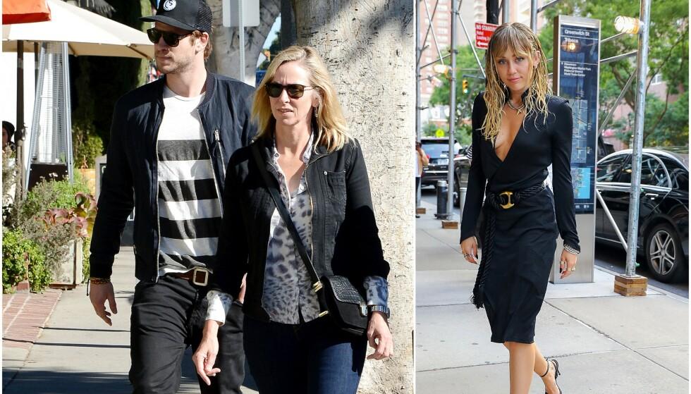 LETTET: Liam Hemsorths mamma Leonie (bildet t.v.) har angivelig lite til overs for ekssvigerdatteren Miley Cyrus, og skal være lettet over bruddet. Foto: NTB Scanpix