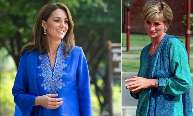 LOKALE KLÆR: I likhet med Diana, velger Kate å gå kledd i klær laget i Pakistan under besøket. Foto: NTB Scanpix