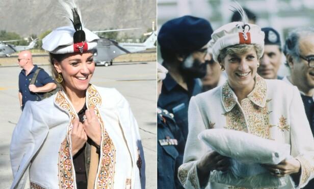 TRADISJONELL HATT: Kate og Diana avbildet med så godt som nøyaktig samme antrekk, med 23 års mellomrom. Foto: NTB Scanpix