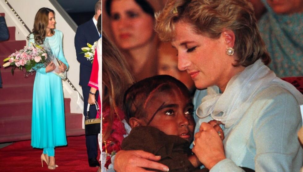 SOM DIANA: Mange synes Kates ankomstantrekk hadde likheter til det Diana gikk kledd i da hun besøkte et barnehjem i Lahore i 1996. Foto: NTB Scanpix