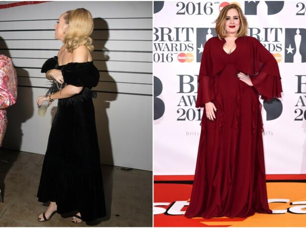 STRÅLER: På bildet til venstre av sangstjernen Adele, ser man tydelig at hun har gått betraktelig ned i vekt. Bildet til høyre er fra 2016. Foto: iamKevinWong.com / MEGA/NTB Scanpix