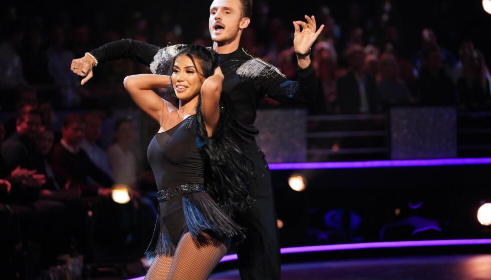 PARTNERE: Benjamin Jayakoddy har i år danset med Isabel Raad. De røyk ut forrige uke. Foto: NTB Scanpix