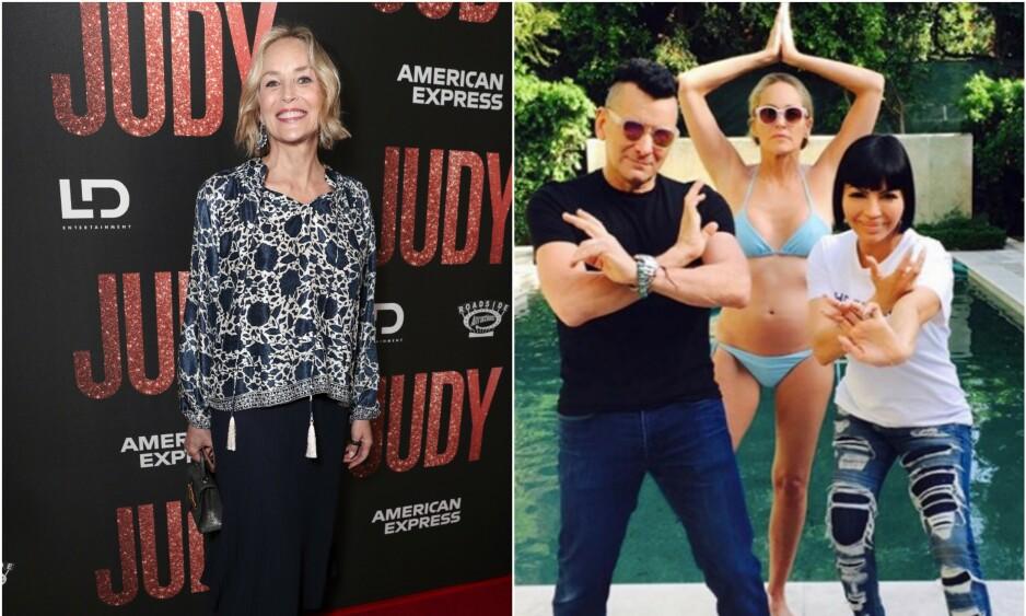 FEIENDE FLOTT: Begge disse bildene er tatt av Sharon Stone sist måned. Foto: NTB Scanpix/Instagram
