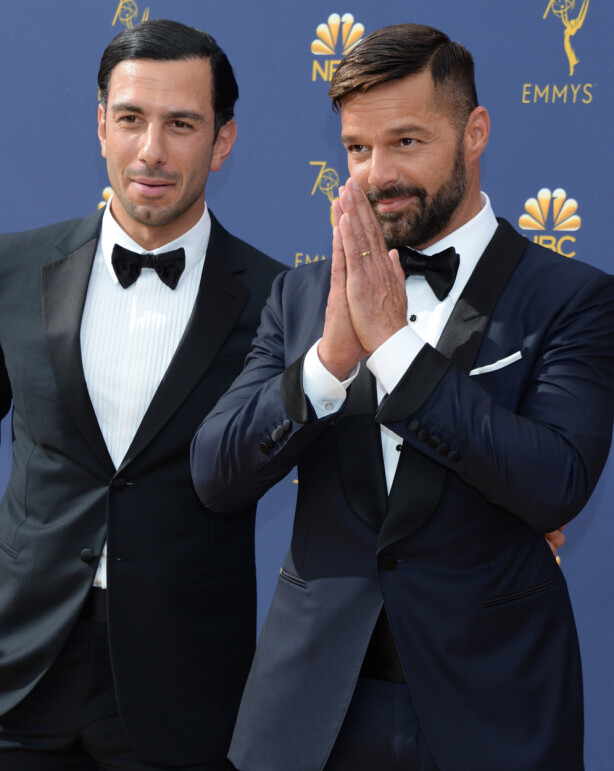 FIKK EN SØNN: Ekteparet Ricky Martin og Jwan Yosef avslørte at de hadde fått et nytt tilskudd i familien. Foto: NTB Scanpix