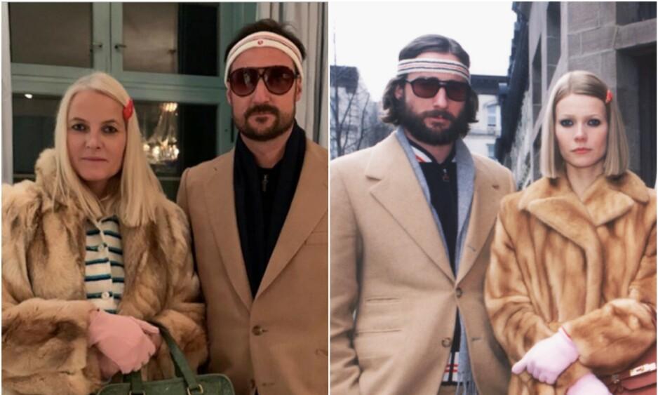 KOPIEN OG ORIGINALEN: Kronpinsparet gjorde en god jobb med å kle seg ut som Gwyneth Paltrow og Luke Wilsons rollefigurer Margot Helen og Richie Tenenbaum. Foto: Instagram/ NTB Scanpix