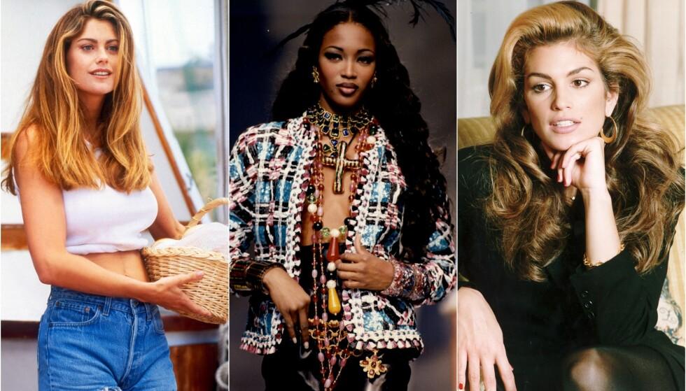 IKONER: Kathy Ireland, Naomi Campbell og Cindy Crawford var blant supermodellene som tok verden med storm på 80- og 90-tallet. Foto: NTB Scanpix