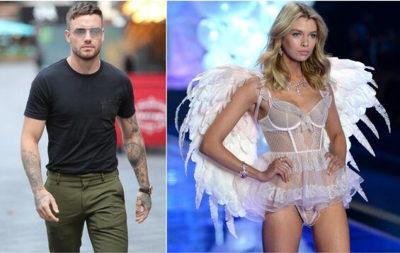 KASTER KLÆRNE: Liam Payne samarbeider med Hugo Boss i ny undertøyskampanje. Her kaster han klærne og blir intim med modell Stella Maxwell. Foto: NTB Scanpix
