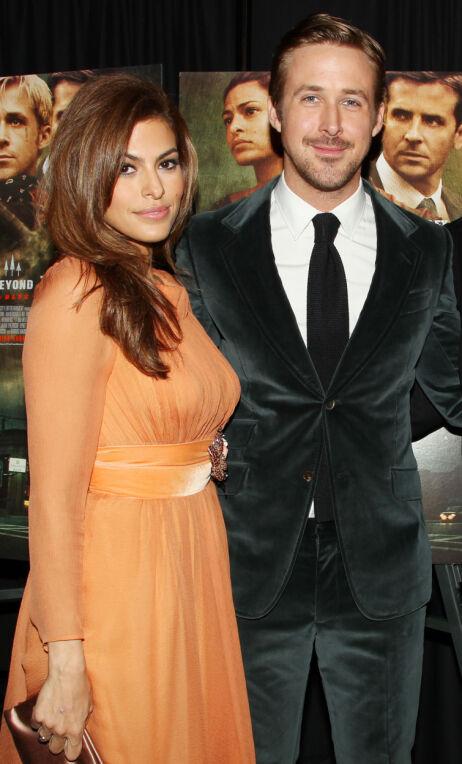 STJERNEPAR: Det finnes svært få bilder av Eva Mendes og Ryan Gosling sammen. Her er de på rød løper i 2013. Foto: NTB Scanpix