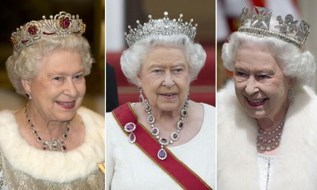 <strong>SAMLING:</strong> Dronning Elizabeth har flere smykker å velge mellom. Foto: NTB Scanpix